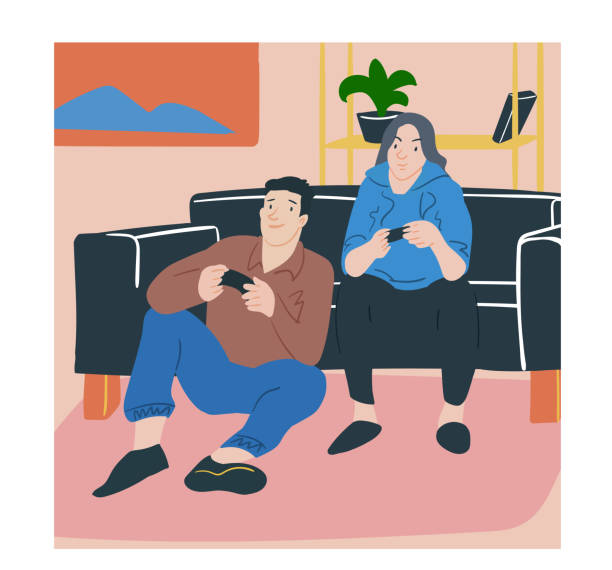 ilustrações de stock, clip art, desenhos animados e ícones de couple male and female lovers playing a game, time together. vector illustration people carton style. - man joystick