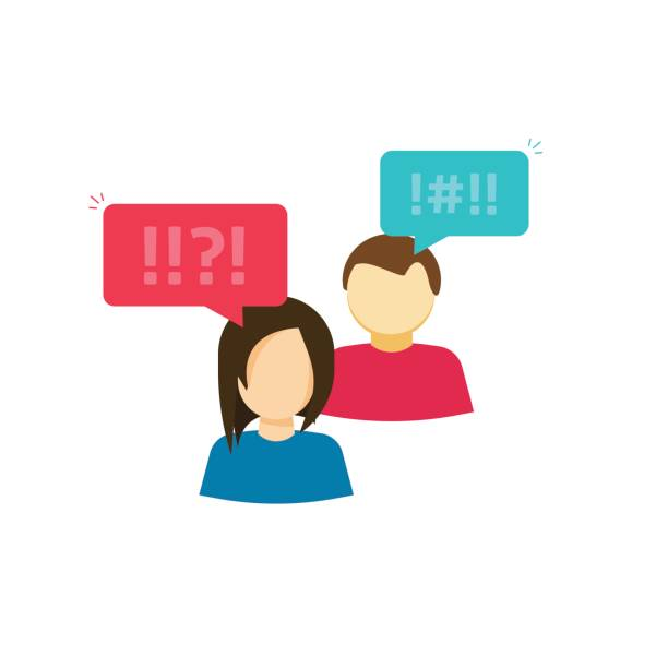 couple man and woman arguing vector, people frustrated, two persons with chat and negative emotions, argument dispute - communication problems stock illustrations, clip art, cartoons, & icons