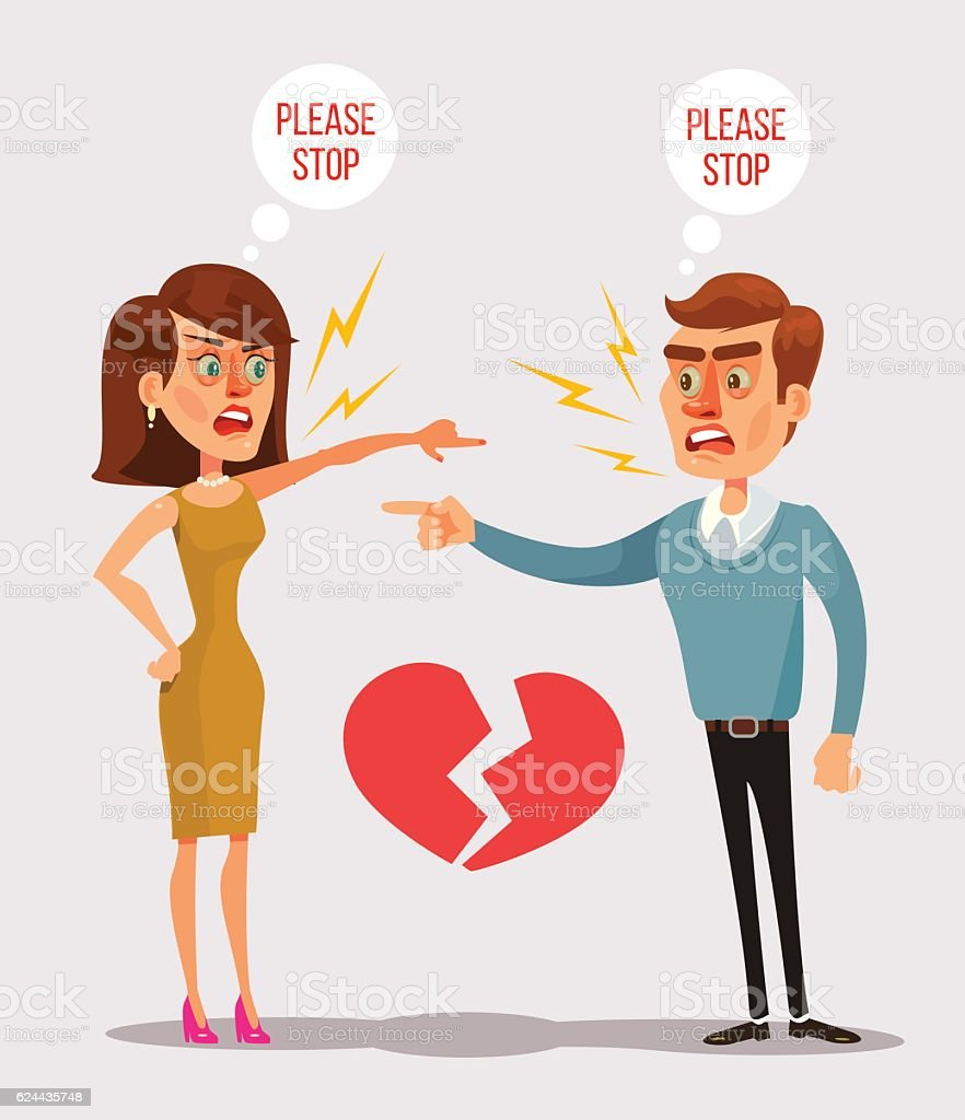 Couple man and woman characters quarrel vector art illustration