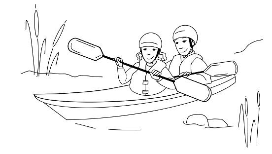 Couple man and woman kayaking on lake or river