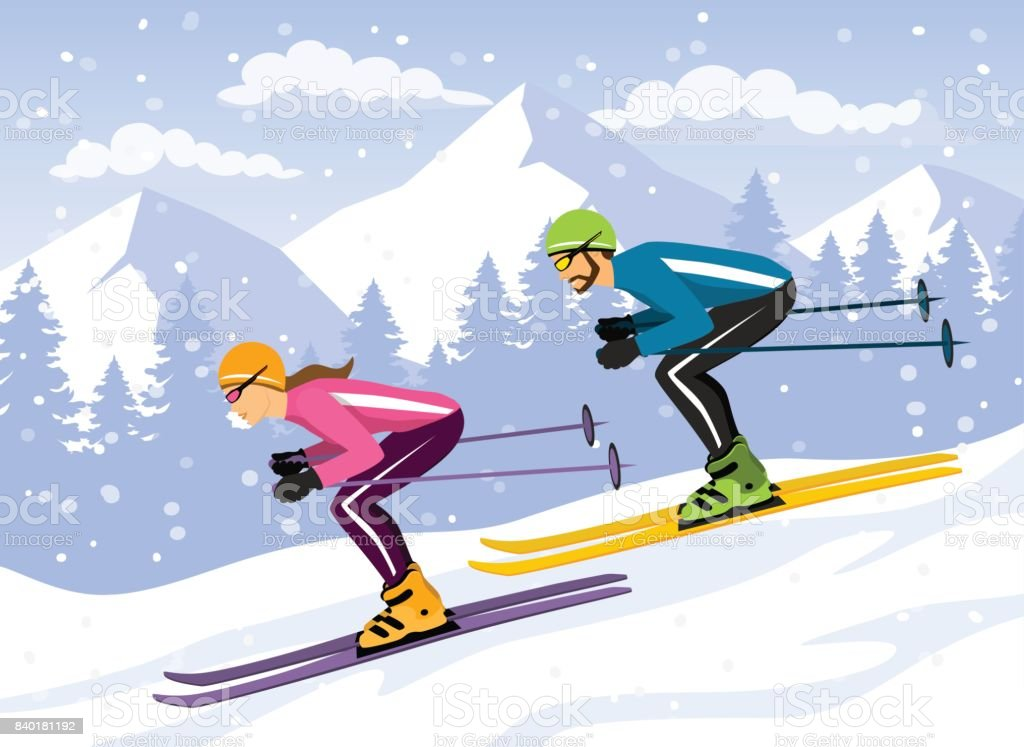 Couple, Man and Woman skiing downhill. Winter sport activity vector...