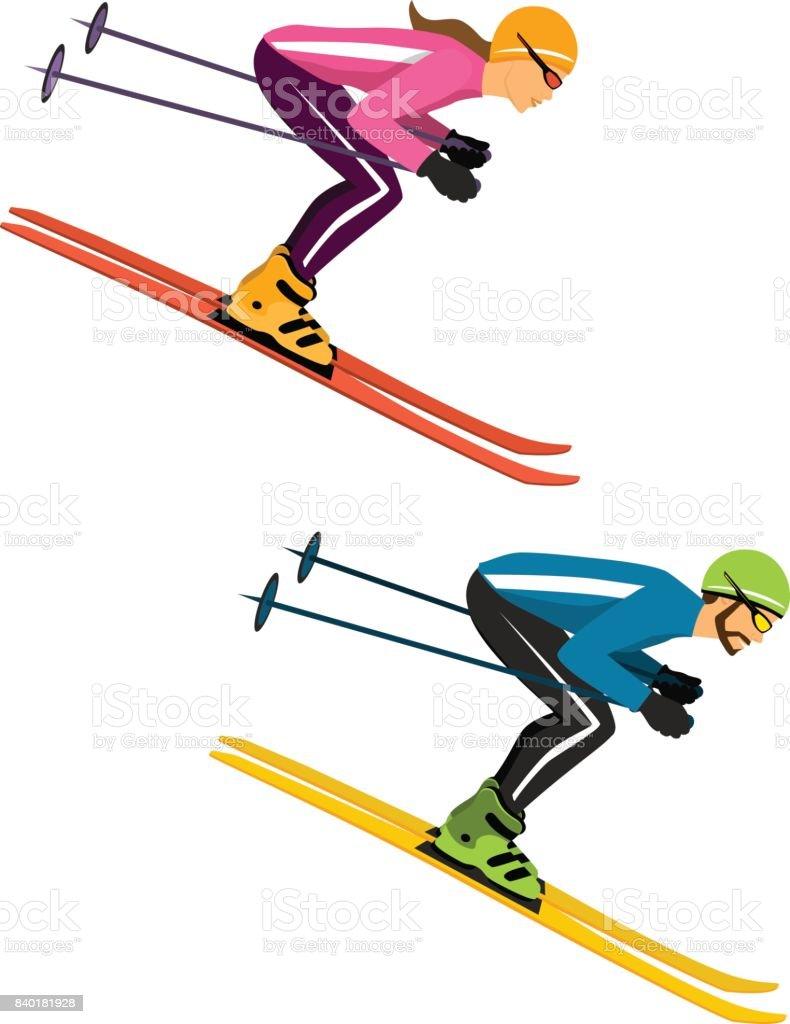 カップル人および女性のスキー分離ベクトル イラスト冬スポーツ