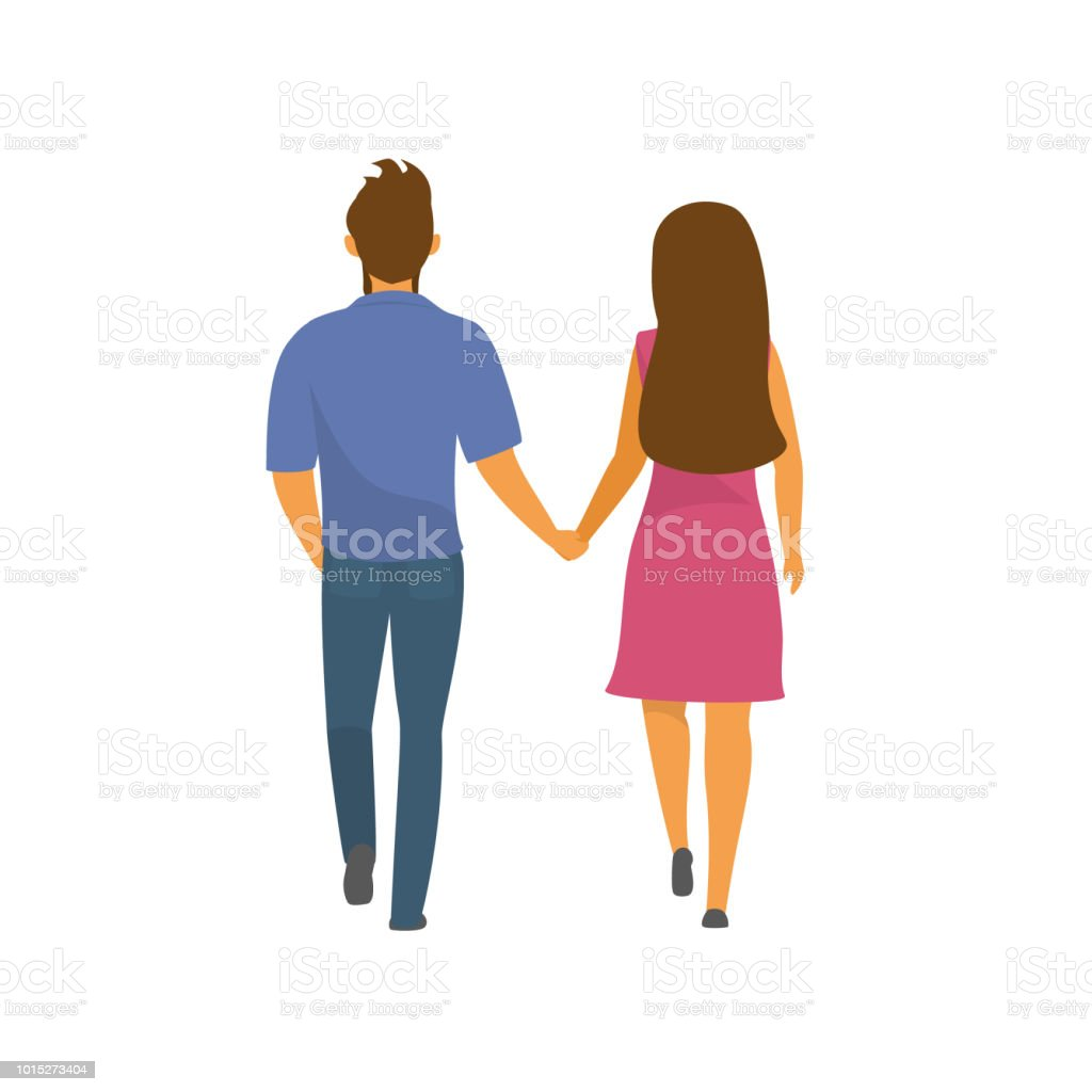 couple, man and woman walking together holding hands backside view vector illustration vector art illustration