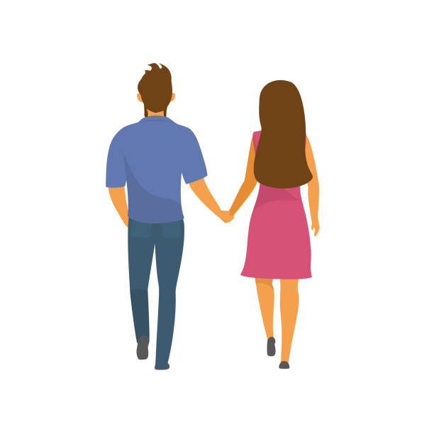 couple, man and woman walking together holding hands backside view vector illustration - couple stock illustrations