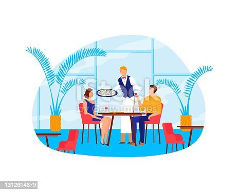 istock Couple man woman people at restaurant, romantic date at table vector illustration. Happy female mal character drink and have lunch 1312614679