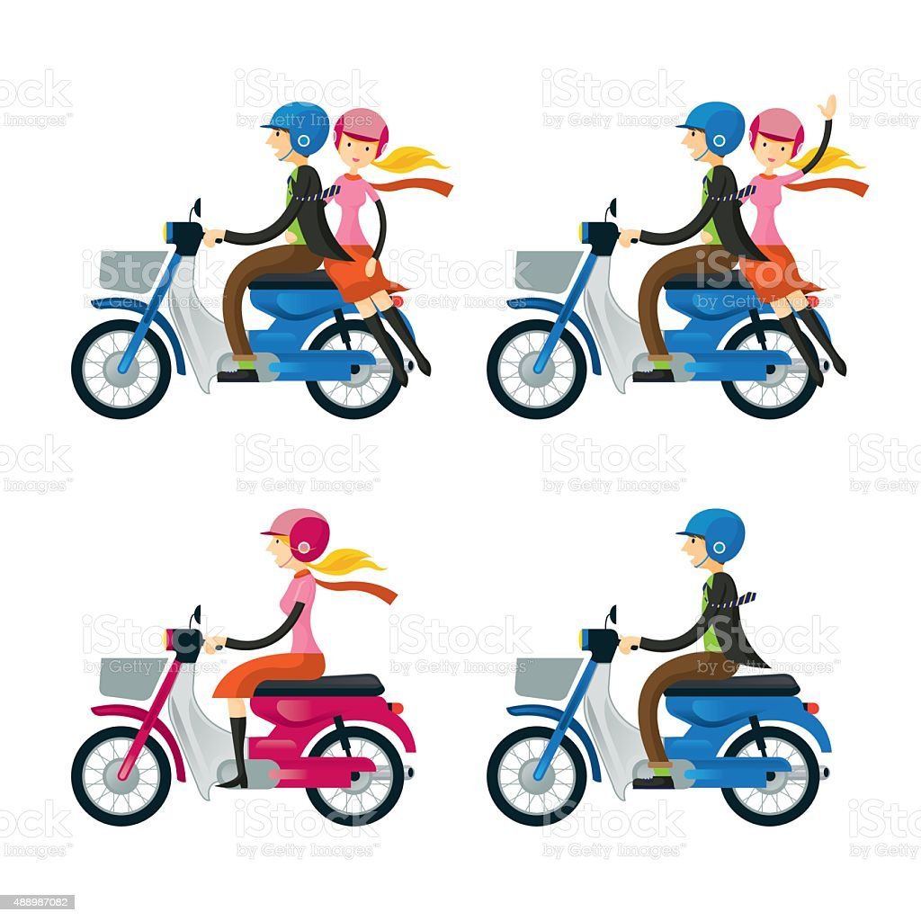Couple, Man, Woman, Riding Motorcycle vector art illustration