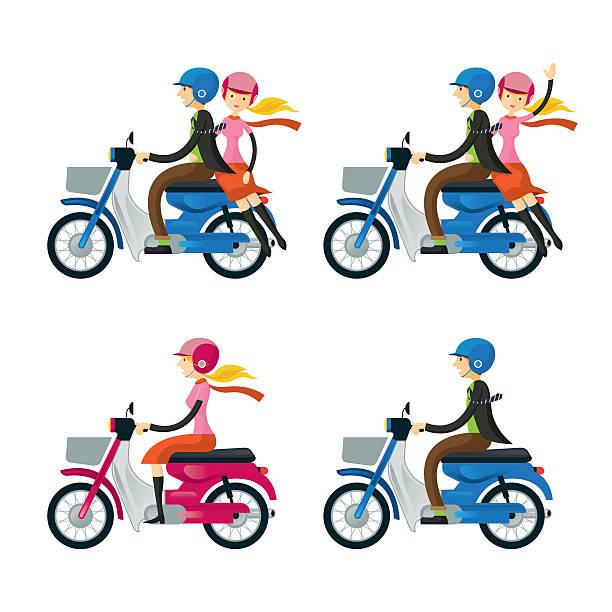 Couple, Man, Woman, Riding Motorcycle vector art illustration