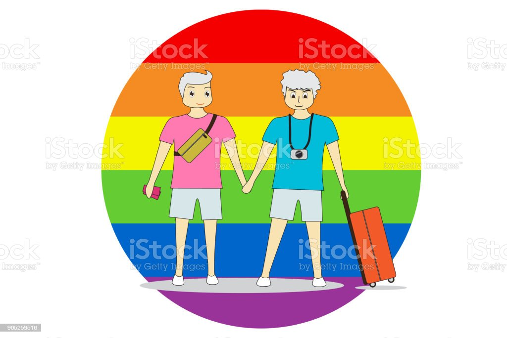 Couple men stand hand in hand with travel. On a colorful background, LGBT symbolizes equality. royalty-free couple men stand hand in hand with travel on a colorful background lgbt symbolizes equality stock vector art & more images of activity
