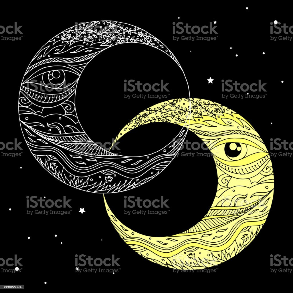 Download Couple Moon Hand Drawing Vector Illustration Design Stock ...