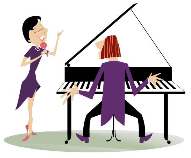 stockillustraties, clipart, cartoons en iconen met paar muzikanten, vrouw van zanger en pianist man geïsoleerde illustratie - tenor