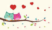 Vector Illustration of Couple of birds in love