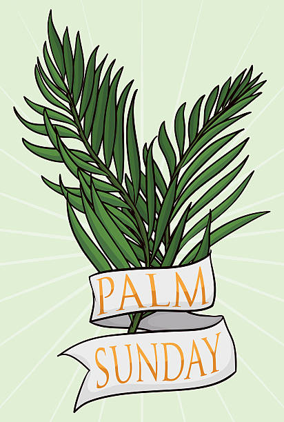couple of branches with ribbon for palm sunday - palm sunday stock illustrations, clip art, cartoons, & icons