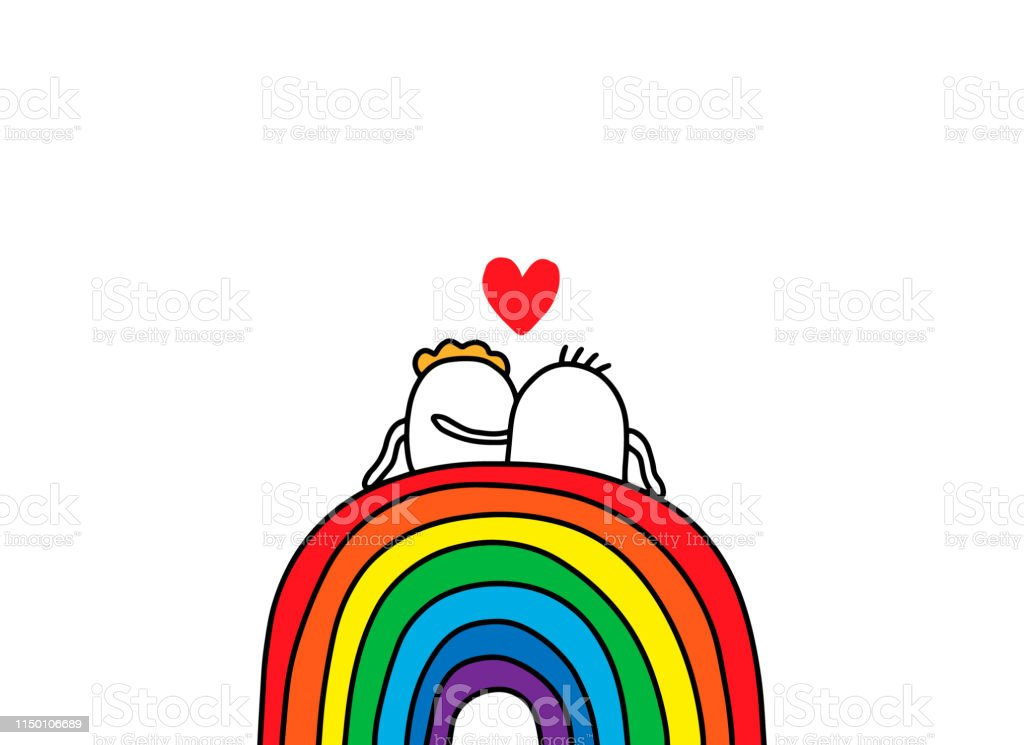 Couple of cartoon people sitting on the rainbow. Hand drawn vector...