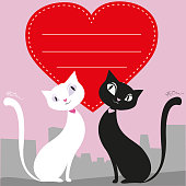 A couple of black and white cats, red heart, greeting card or banner, vector illustration