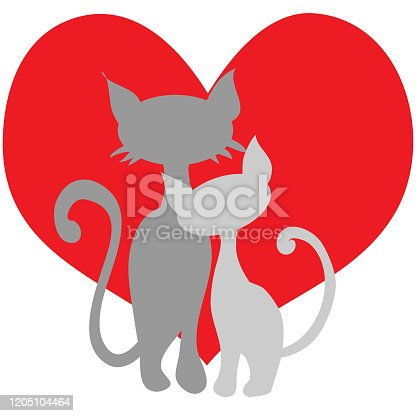 couple of cats on a background of red hearts for valentines design, cards about love, wedding