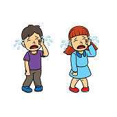 istock A couple of children crying from injury/unsatisfied incident. For human emotion/facial expression concepts.Used to compose teaching materials in a set that expresses emotions. 1296615993