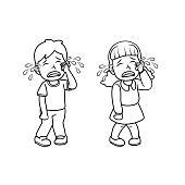 istock A couple of children crying from injury/unsatisfied incident. For human emotion/facial expression concepts. Only black and white for coloring page.Used to compose teaching materials in a set that expresses emotions. 1296615997