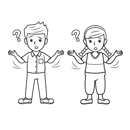 A couple of children feeling confused. For human face expression or emotion concepts. Only black and white for coloring page.Used to compose teaching materials in a set that expresses emotions.