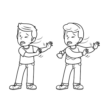 A couple of children feeling disgusted. For human face expression or emotion concepts. Only black and white for the coloring page.Used to compose teaching materials in a set that expresses emotions.