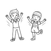 istock A couple of children feeling happy. Raise arms to the air. For emotion/face expression concepts for kids education. Only black and white for coloring page.Used to compose teaching materials in a set that expresses emotions. 1296612814