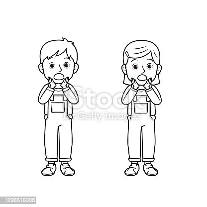 A couple of children feeling surprised. One man and one woman showing face expression. For emotion concepts for kids education. Only black and white for coloring page.Used to compose teaching materials in a set that expresses emotions.