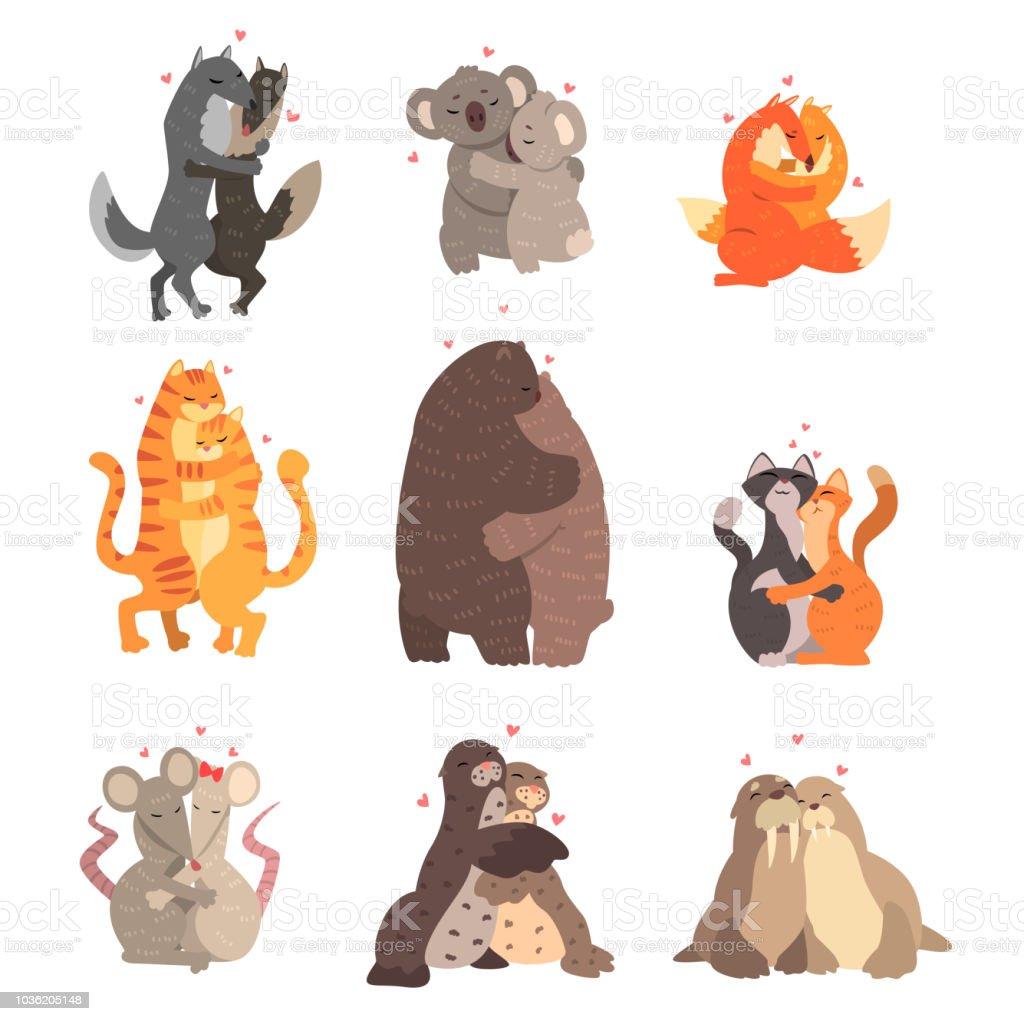 愛を受け入れ互いに設定でかわいい動物のカップルは幸せの野生と家畜の心