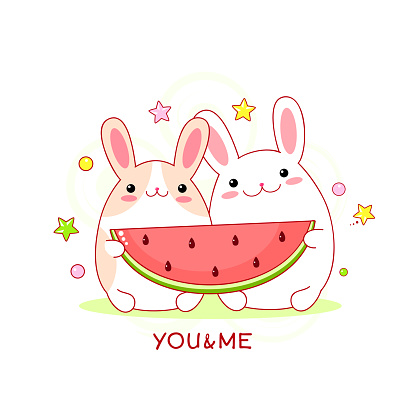 Couple of cute fat rabbits with a piece of watermelon