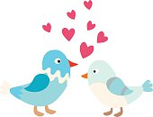 Love bird couple character happy and colorful spring love bird. Couple love bird cartoon romantic animals. Romance natural bids concept. Couple of cute love birds nature sweet comic cartoon vector.
