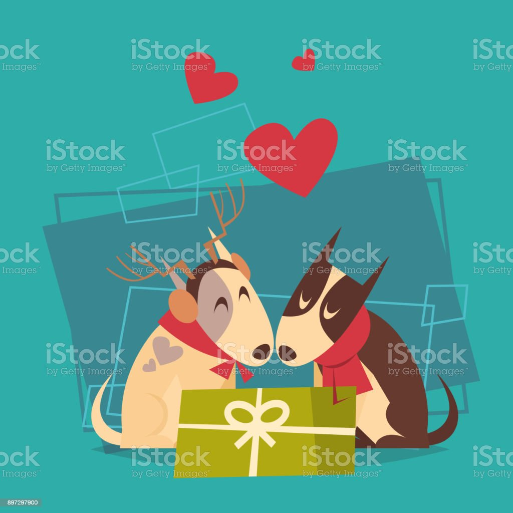 couple of dogs with gift box happy new year 2018 zodiac symbol icon royalty free