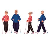 Couple of elder adult nordic walkers, male and female