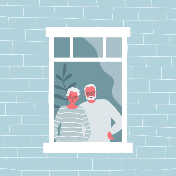 Couple of elderly people are standing at the open window. An old woman and an old man are looking out the window from their apartment vector art illustration