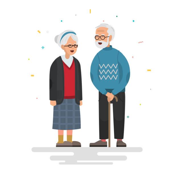 bildbanksillustrationer, clip art samt tecknat material och ikoner med par äldre personer. morfar nära mormor. vektor illustration i platt stil. - medelålders