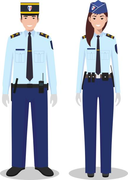 Couple of french policeman and policewoman in  traditional uniforms standing together on white background in flat style. Police concept. Flat design people characters. Vector illustration. vector art illustration