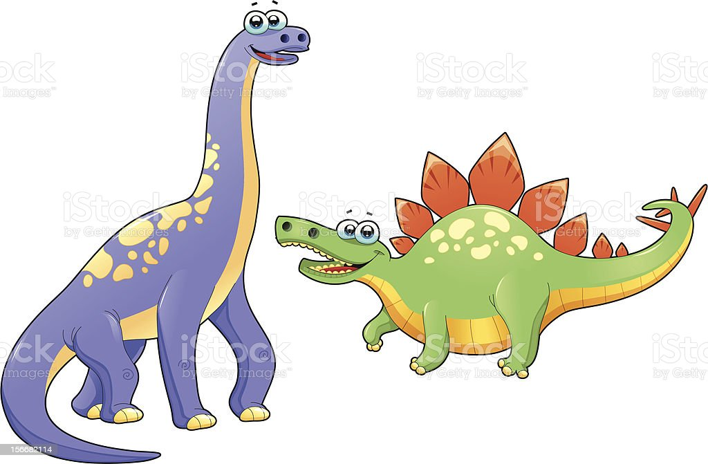 Couple of funny dinosaurs. royalty-free stock vector art