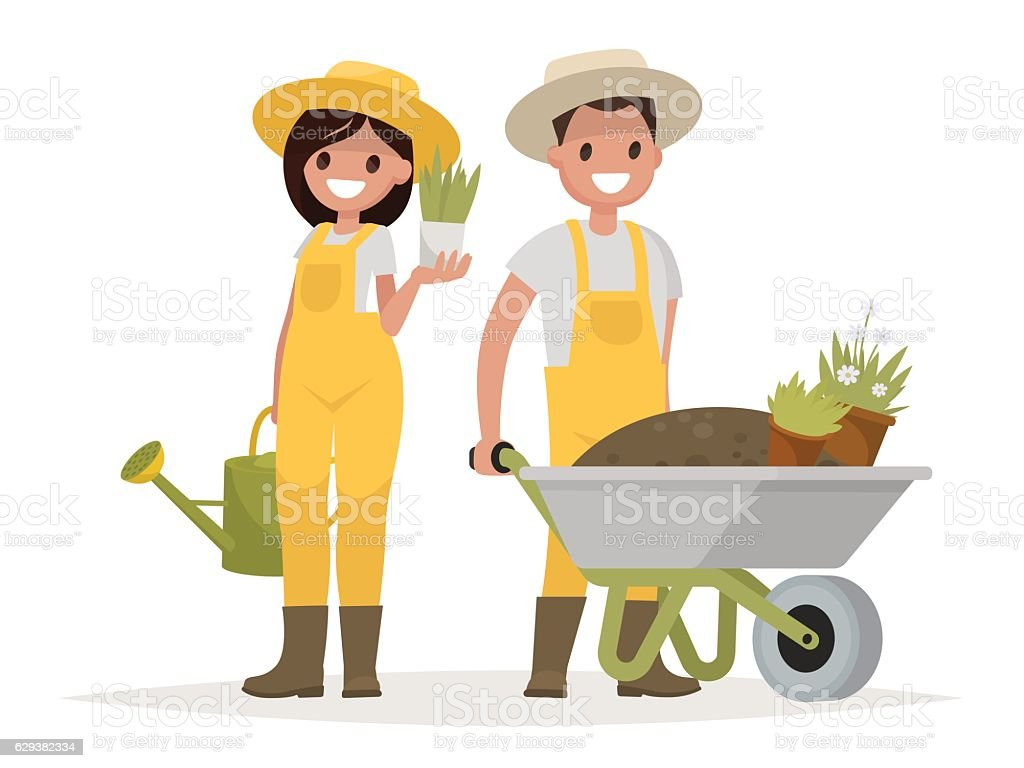 Couple of gardeners. Man with wheelbarrow of earth, a woman vector art illustration