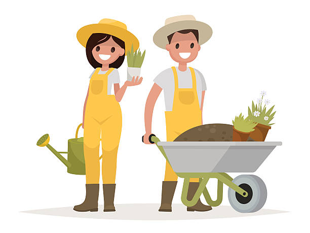 ilustraciones, imágenes clip art, dibujos animados e iconos de stock de couple of gardeners. man with wheelbarrow of earth, a woman - jardinería