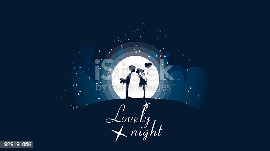 A couple of girls and guys kissing on the hill in front of a big bright moon and stars. Vector illustration.
