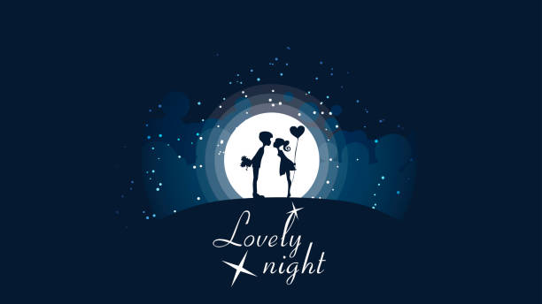 a couple of girls and guys kissing on the hill in front of a big bright moon and stars. - date night stock illustrations