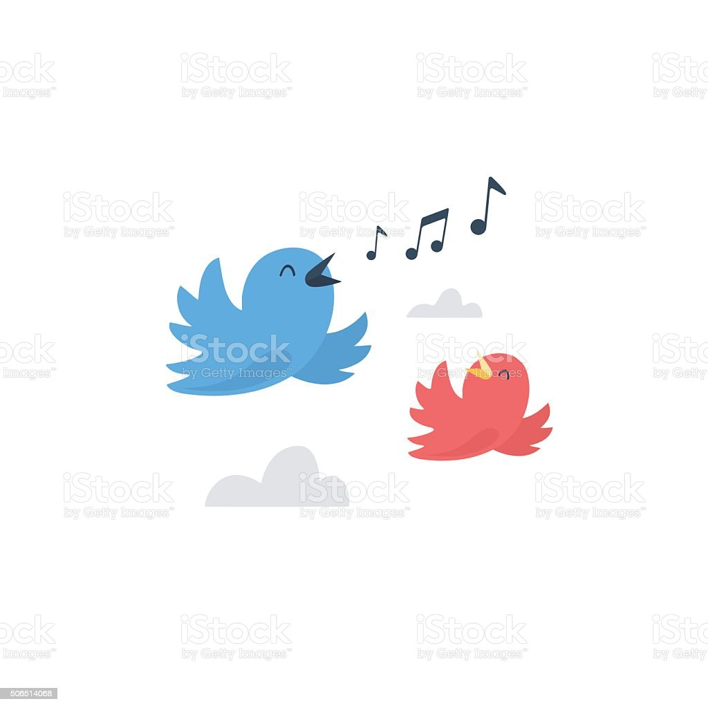 Couple of happy birds flying and singing vector art illustration