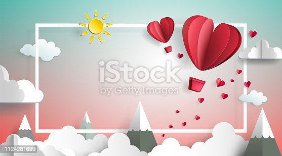 istock Couple of Hot-air Balloons - Love In The Air 1124281699