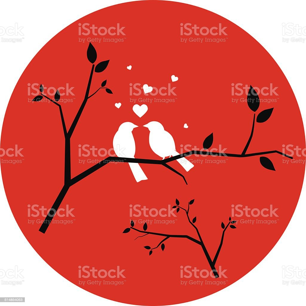 Couple of Love Birds vector art illustration