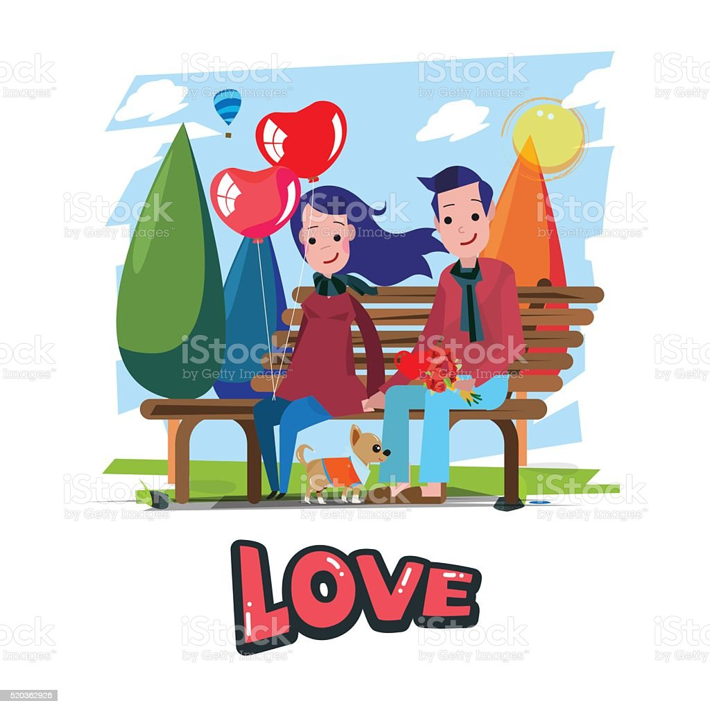 couple of love sitting at park. - vector illustration