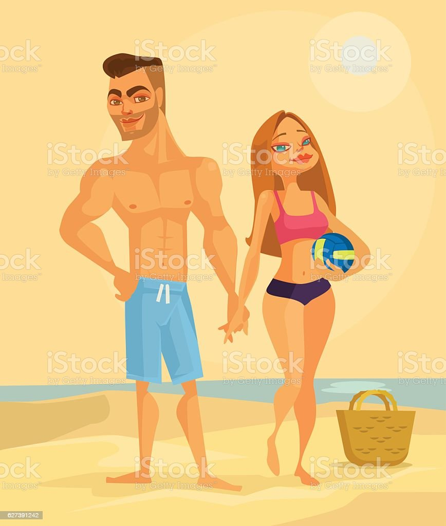 Couple of lovers characters on the beach vector art illustration