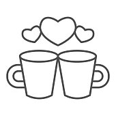 Couple of lovers cups thin line icon, valentine day concept, Two cups with heart sign on white background, cup of hot drink icon in outline style for mobile concept. Vector graphics