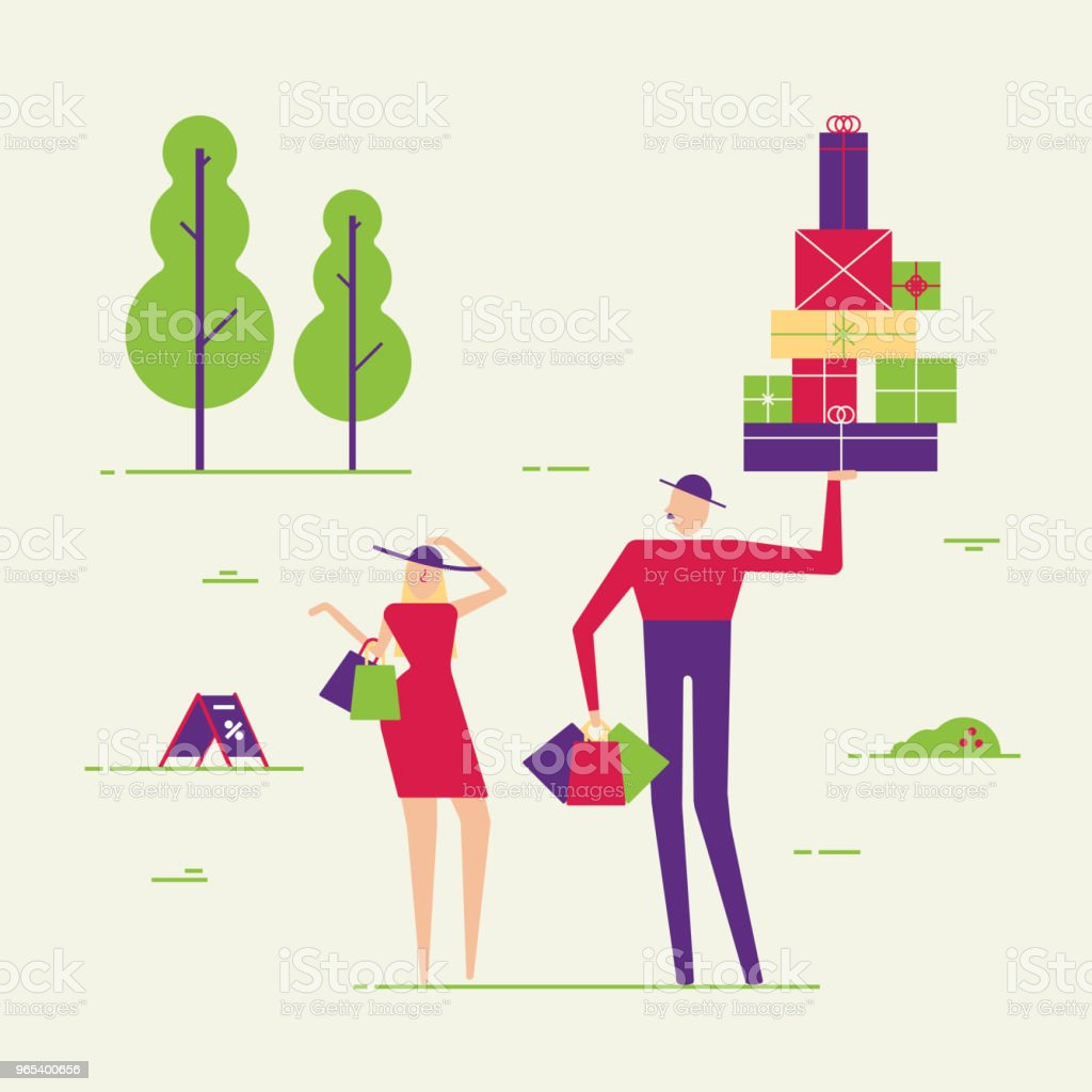 Couple of male and female people shopping. Man and woman with boxes and packs vector illustration flat style. Shop, trees, grass and environment. Buyers, customers or happy clients minimal, abstract royalty-free couple of male and female people shopping man and woman with boxes and packs vector illustration flat style shop trees grass and environment buyers customers or happy clients minimal abstract stock vector art & more images of adult