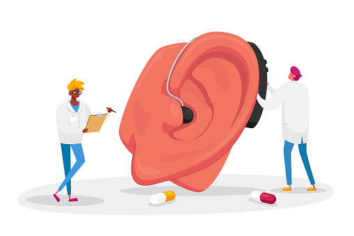 Couple of Male Doctors Characters Fitting Deaf Aid on Huge Patient Ear. Hearing Loss Medical Health Problem, Otolaryngology Medicine, Deafness Disease Concept. Cartoon People Vector Illustration