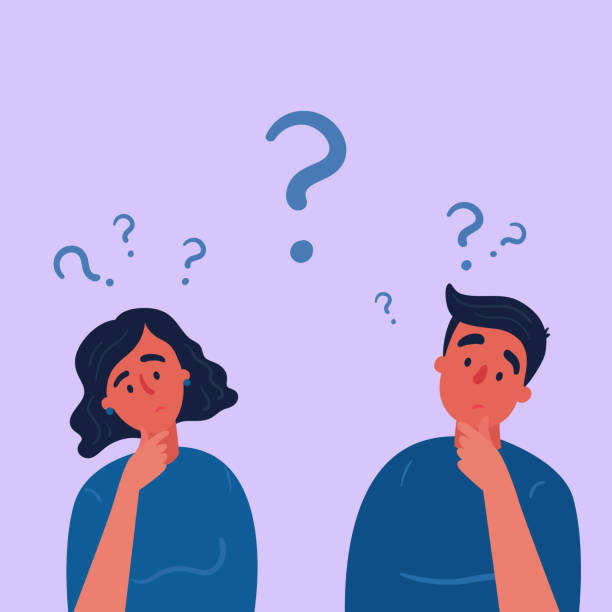 Couple of man and woman having a question marks Couple of man and woman having a question. Male and female characters standing in thoughtful pose holding chin and question marks above their head. Quarrel, doubts or interest in relationship. Vector reflection stock illustrations