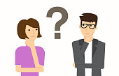 Couple of man and woman having a question. Thinking. Vector illustration. Couple of man and woman having a question. Thinking