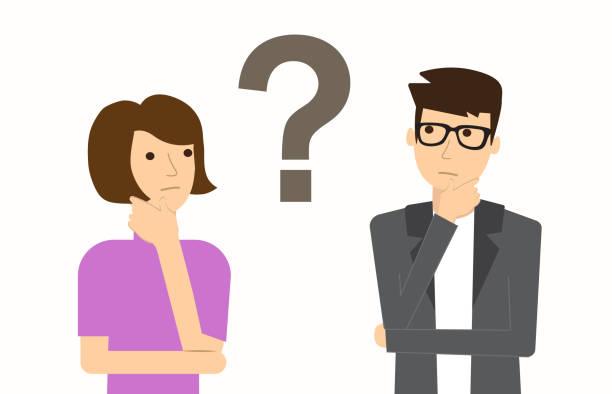 一對男人和女人有問題。思維。向量例證 - 困惑 幅插畫檔、美工圖案、卡通及圖標