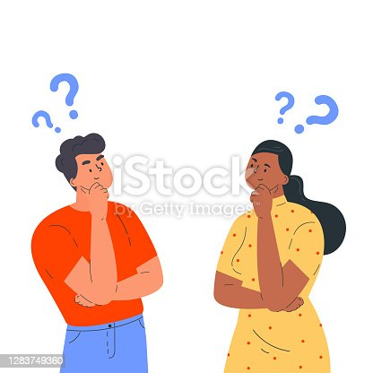 istock Couple of man and woman having a question 1283749360